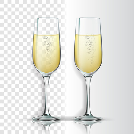 Realistic Glass With Sparkling Champagne Vector. Champagne Is White Wine Product. Crystal Luxury Elegant Alcoholic Beverage With Bubbles Isolated On Transparency Grid Background. 3d Illustration