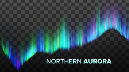 Realistic Composition Of Northern Aurora Vector. Nature Phenomenon Arctic Lights Abstract Composition Of Colorful Sky Arch Isolated On Transparency Grid Background. 3d Illustration