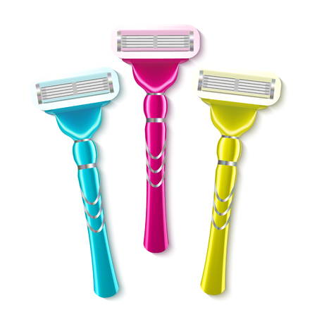 Realistic Shaving Razor Instrument Set Vector. Different Multi-colored Of Razor For Epilation Hair Removal. Skin Care Personal Hygiene Equipment Concept. Top View Image 3d Illustration Banco de Imagens - 123124668