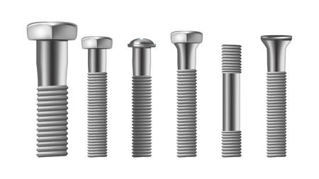 Realistic Types Of Steel Brass Bolt Set Vector. Assortment Of Different Metallic Bolt, Screw And Rivet. Iron Construction Elements. Side View Isolated Detail Image. 3d Illustration Illustration