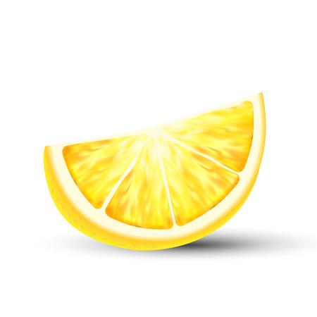 Fresh Juicy 3D Vector Lemon Slice Closeup. Raw Lemon Piece Isolated Clipart On White Background. Chopped Natural Citrus Fruit Design Element. Ripe Organic, Eco Food Realistic Illustration
