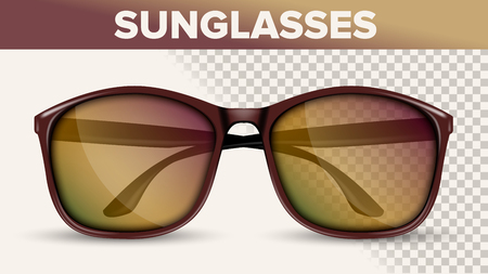 Oversized Wayfarer Sunglasses, Trendy Vector 3D Shades. Folded Sunglasses With Plastic Frame Isolated Clipart. Eyewear Front View On Transparent Background. Accessories Realistic Illustration