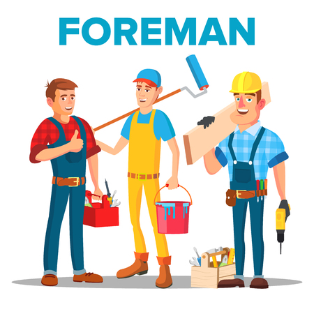 Character Foreman Staff Renovation Team . Smiling Professional Foreman Painter, Carpenter And Timber Frame House Building Worker In Uniform. Isolated Flat Cartoon Illustration Imagens