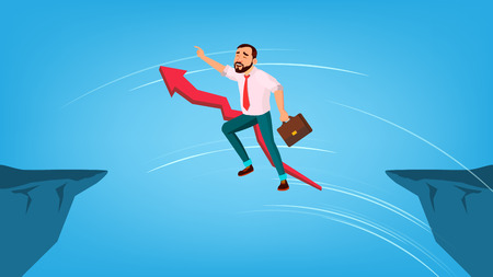 Businessman Jump Through Gap Between Cliff . Red Arrow Sign Behind Character Man With Case Running And Overleap Gap. Business Risk And Success. Symbol Of Courage Flat Cartoon Illustration Stock Photo