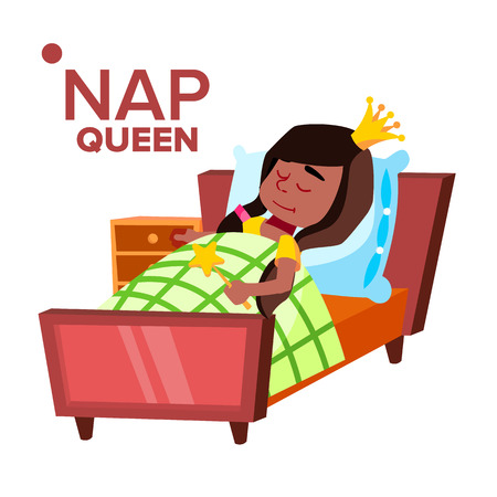 Napping Girl, Sleeping Child Cartoon Character. Kid Wearing Crown Isolated Clipart. Little Princess, Queen Dreaming, Lying in Bed Design Element. Kindergarten, Nursery School Flat Illustration