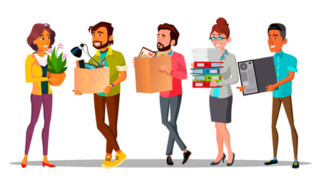 Moving, Relocation, Colleagues Changing Office Characters. Workplace Relocation. New Workers Holding Cardboard Boxes Isolated Cliparts Set. Employees Carrying Belongings Flat Illustration