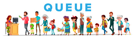Long Queue In Food Store, Banner Concept. Young And Old People Waiting In Queue, Line. Men, Women And Children Cartoon Characters. Shop Sale, Customer Service Flat Illustration