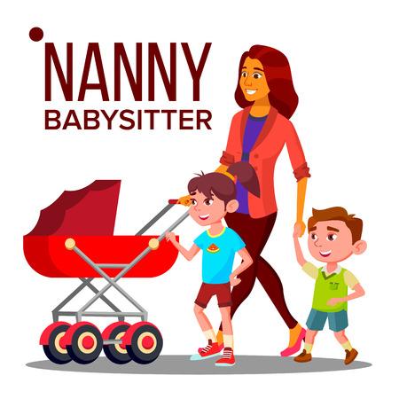 Nanny Woman . Babysitter Nanny With Children. Care Family. Illustration Zdjęcie Seryjne