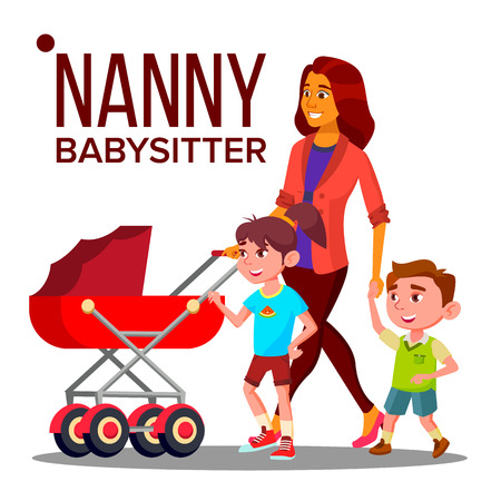 Nanny Woman . Babysitter Nanny With Children. Care Family. Illustration Stock Photo