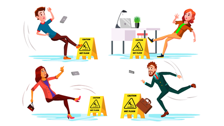 Slippery Concept . Wet Slippery Floor. Slip People Fall On. Illustration Banque d'images