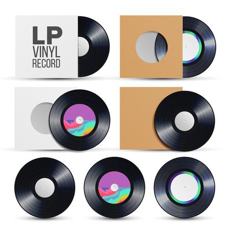 Lp Record . Vinyl LP Cover Plate Mockup. Retro Vintage Album. Audio Illustration