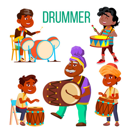 Drummers Using Ethnic Percussion Characters Set. Cartoon Dark Skin Drummers Isolated Cliparts Pack. Teenager At Drum Kit. Musicians Playing African, Arabic, Indian Folk Music Flat Illustration