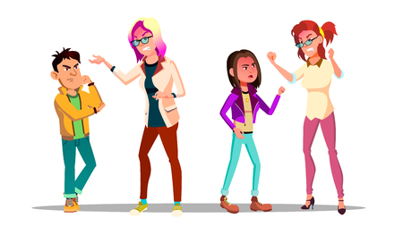 Teenagers Arguing With Adults Cartoon Characters Set. Parents And Kids Arguing Isolated Cliparts Pack. Teacher And Guilty Pupil. Furious Mother, Shouting At Daughter, Son Flat Illustration