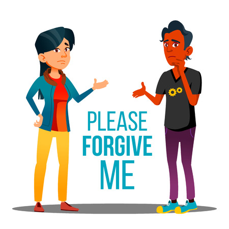 Man And Woman Asking Forgiveness Cartoon Poster. Please Forgive Me Typography. Dark Skin Male And Asian Female Characters Arguing. People Talking, Communicating, Apologizing Flat Illustration Stock Photo