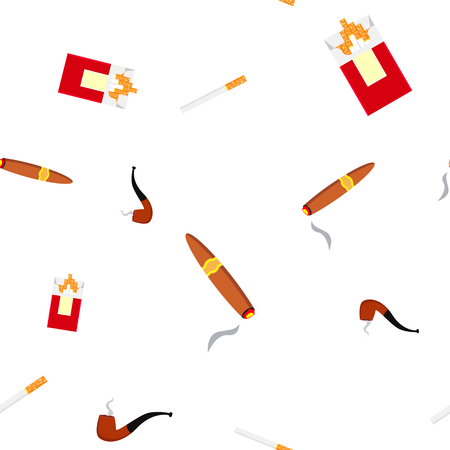 Smoking Pipe Seamless Pattern . Wind Steam. Vintage Smpoker. Nicotine. Cute Graphic Texture. Textile Backdrop. Colorful Background Illustration