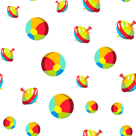Children, Baby Toys Cartoon Seamless Pattern. Multicolor Plastic Toys Textile, Backdrop. Striped Beach Ball, Retro Spinning Top Background. Kids Leisure Activities, Games Flat Illustration