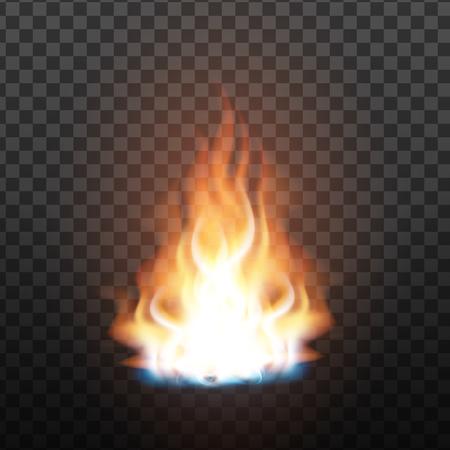 Animationsstufe des hellen realistischen Feuers. Orange brennbare Feuerspur. Fiery, Bonfire oder Burn Graphic Design Element-Effekt auf Transparenz-Raster-Hintergrund. 3D-Darstellung