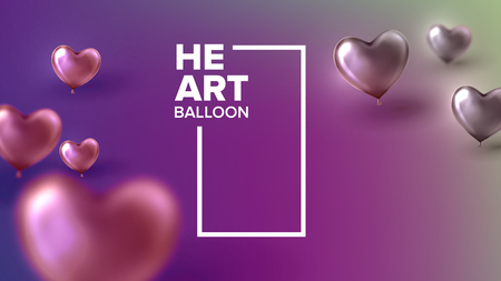 Decoration Of Wedding Celebration Festive Vector. Realistic Bright Red Balloons In Shape Of Heart Romantic Party Decoration Hall Or Park. Colorful Beautiful Amour Postcard 3d Illustration Stock Illustratie