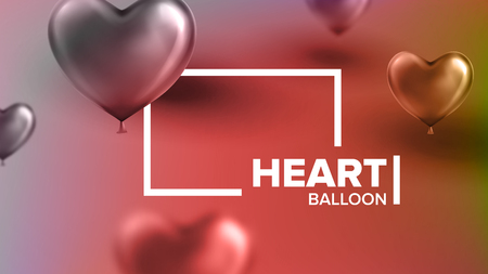 International World Heart Day Modern Banner Vector. Realistic Sparkling Red Helium Flying Balloons In Shape Of Heart And Horizontal Frame With Text On Fashionable Postcard. 3d Illustration Фото со стока - 122797589