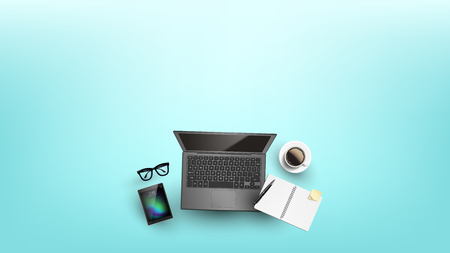 Devices For Work Or Education Flat Lay Vector. Pen And Binder Paperclip Notebook With Piece Of Paper On Laptop, Cup Of Coffee, Glasses And Tablet Instruments For Work. Copy Space Top View Illustration Illustration