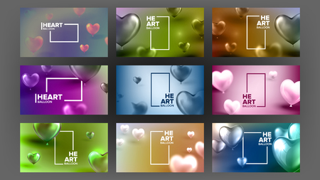International Lovely Valentine Day Banner Vector. Realistic Glossy Pink Bubbles In Shape Of Heart And Vertical White Frame For February Romantic Day Party. Fashionable Amour Postcard 3d Illustration Standard-Bild - 122797612