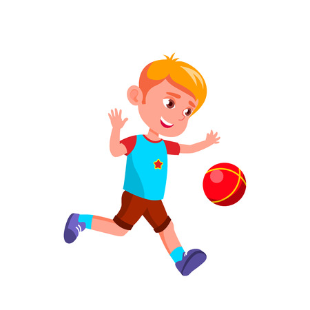 Caucasian Boy Kindergarten Kid Poses Vector. Character Playing. Childish. Casual Clothe. For Presentation, Print, Invitation Design. Isolated Cartoon Illustration 矢量图像