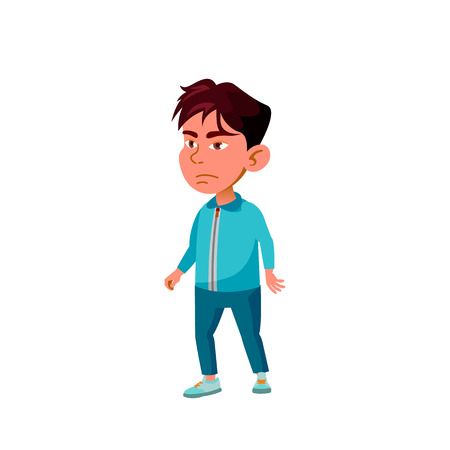 Asian Boy Kindergarten Kid Poses Vector. Character Playing. Childish. Casual Clothe. For Presentation, Print, Invitation Design. Isolated Cartoon Illustration