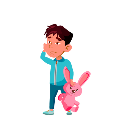 Asian Boy Kindergarten Kid Poses Vector. Character Playing. Childish. Casual Clothe. For Presentation, Print, Invitation Design. Isolated Cartoon Illustration