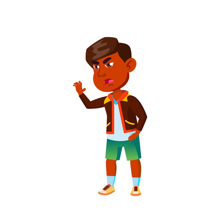 Indian Boy Kindergarten Kid Poses Vector. Character Playing. Childish. Casual Clothe. For Presentation, Print, Invitation Design. Isolated Cartoon Illustration