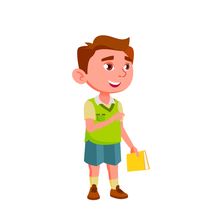 Caucasian Boy Kindergarten Kid Poses Vector. Character Playing. Childish. Casual Clothe. For Presentation, Print, Invitation Design. Isolated Cartoon Illustration Illustration