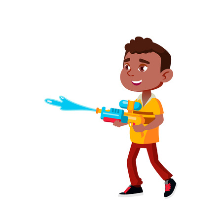 Black, Afro American Boy Kindergarten Kid Poses Vector. Character Playing. Childish. Casual Clothe. For Presentation, Print, Invitation Design. Isolated Cartoon Illustration Vecteurs
