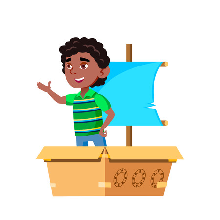 Black, Afro American Boy Kindergarten Kid Poses Vector. Character Playing. Childish. Casual Clothe. For Presentation, Print, Invitation Design. Isolated Cartoon Illustration