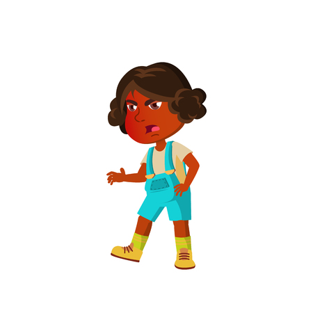 Indian Girl Kindergarten Kid Poses Vector. Character Playing. Childish. Casual Clothe. For Presentation, Print, Invitation Design. Isolated Cartoon Illustration