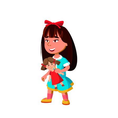 Asian Girl Kindergarten Kid Poses Vector. Character Playing. Childish. Casual Clothe. For Presentation, Print, Invitation Design. Isolated Cartoon Illustration