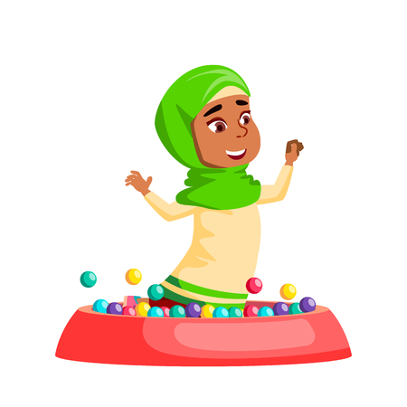 Arab, Muslim Girl Kindergarten Kid Poses Vector. Character Playing. Childish. Casual Clothe. For Presentation, Print, Invitation Design. Isolated Cartoon Illustration
