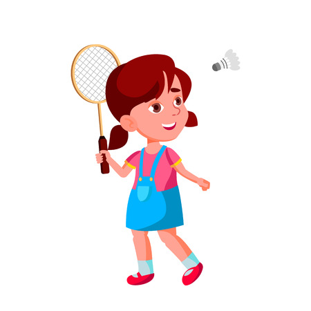 Caucasian Girl Kindergarten Kid Poses Vector. Character Playing. Childish. Casual Clothe. For Presentation, Print, Invitation Design. Isolated Cartoon Illustration