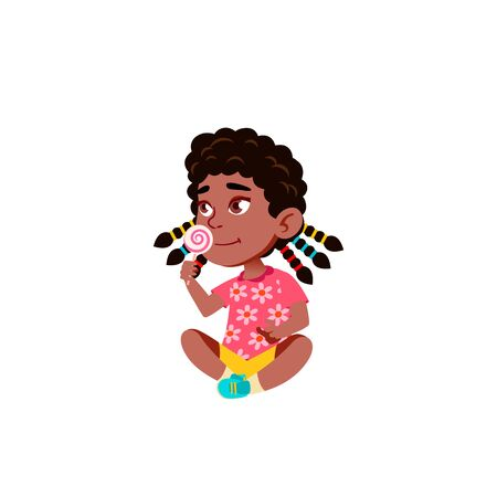 Black, African American Girl Kindergarten Kid Poses Vector. Character Playing. Childish. Casual Clothe. For Presentation, Print, Invitation Design. Isolated Cartoon Illustration
