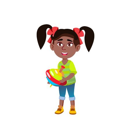 Black, African American Girl Kindergarten Kid Poses Vector. Character Playing. Childish. Casual Clothe. For Presentation, Print, Invitation Design. Isolated Cartoon Illustration  イラスト・ベクター素材