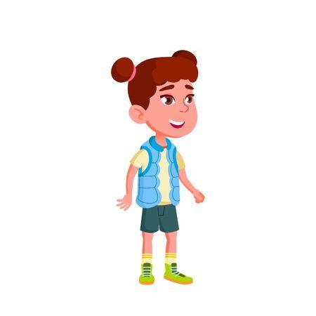 Caucasian Girl Kindergarten Kid Poses Vector. Character Playing. Childish. Casual Clothe. For Presentation, Print, Invitation Design. Isolated Cartoon Illustration