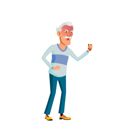 Asian Old Man Vector. Elderly People. Senior Person. Aged. Active Grandparent. Isolated Cartoon Illustration