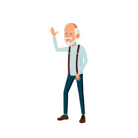 Aziatische oude man Vector. Oudere mensen. Senior persoon. oud. Actieve grootouder. Geïsoleerde Cartoon Illustratie