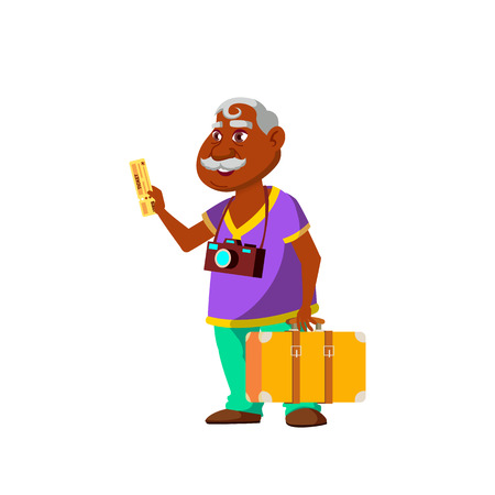 Indian Old Man Vector. Elderly People. Senior Person. Aged. Active Grandparent. Isolated Cartoon Illustration