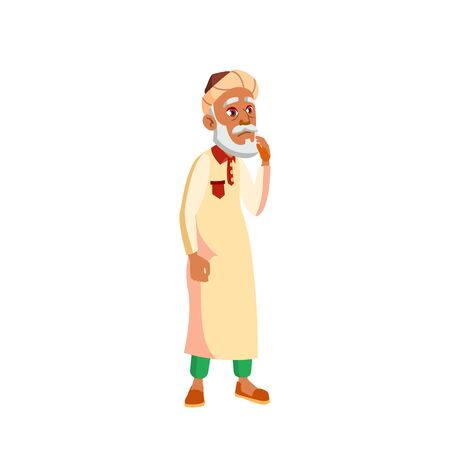 Arab, Muslim Old Man Vector. Elderly People. Senior Person. Aged. Active Grandparent. Isolated Cartoon Illustration