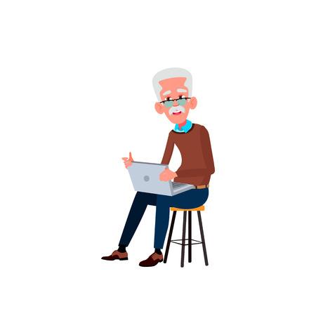 Old Man Vector. Elderly People. Senior Person. Aged. Active Grandparent. Isolated Cartoon Illustration Foto de archivo - 122488961