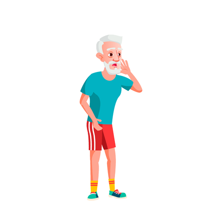 Old Man Vector. Elderly People. Senior Person. Aged. Active Grandparent. Isolated Cartoon Illustration