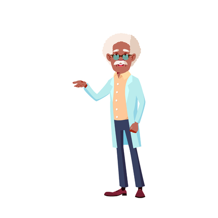 Black, African American Man Vector. Elderly People. Senior Person. Aged. Active Grandparent. Isolated Cartoon Illustration 向量圖像