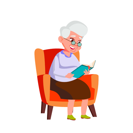 Caucasian Woman Vector. Elderly People. Senior Person. Aged. Active Grandparent. Isolated Cartoon Illustration