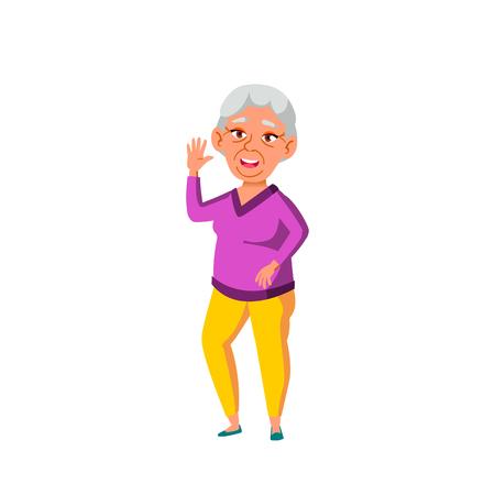 Asian Woman Vector. Elderly People. Senior Person. Aged. Active Grandparent. Isolated Cartoon Illustration 向量圖像