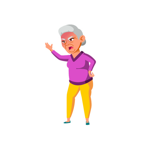 Asian Woman Vector. Elderly People. Senior Person. Aged. Active Grandparent. Isolated Cartoon Illustration