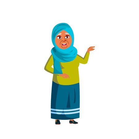Arab, Muslim Woman Vector. Elderly People. Senior Person. Aged. Active Grandparent. Isolated Cartoon Illustration 矢量图像